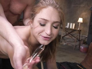 Bearded man shoves a girl in the anus various objects