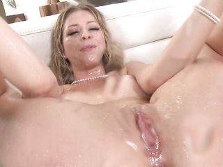Blonde nicely finished after group sex