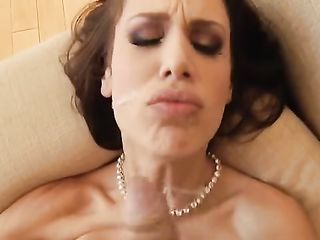 Busty brunette after anal does massage with dick by tits