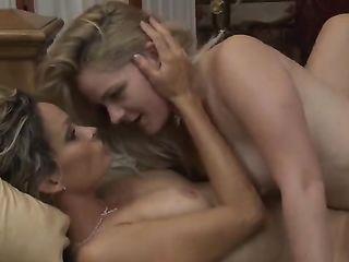 Lesbian rubs nipple clit blonde