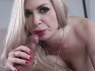 Russian blonde swallows cock full length