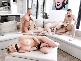 Tied naked blonde watching an orgy