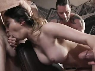 Insatiable chick sucks four men