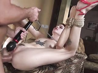 Has a girl in the ass tied hand and foot damsel