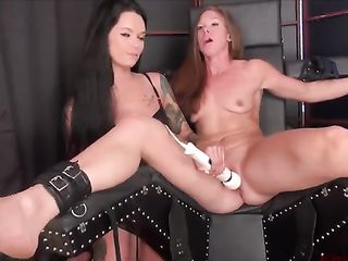 Brunette with a vibrator brings orgasm bound