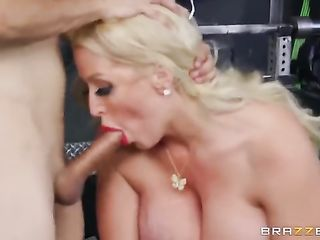 Alura Jenson rides cock and works with dumbbells