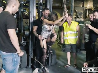 Warehouse workers fucked bound chick