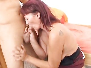 Old woman has sex with a young guy