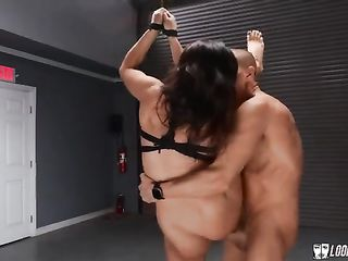 Hard brunette fucks while tied to the ceiling brunette