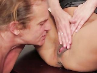 Axel Braun masturbates and a man licks a squirt from her pussy