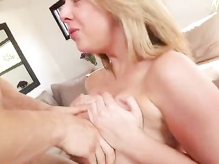 Soft blonde's boobs massage dick