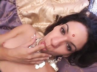 Indian girl caresses small breasts during sex