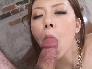 Three guys cum on face of cute Japanese girl
