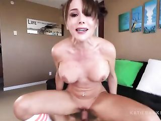 Katie Banks has sex with a guy and cums