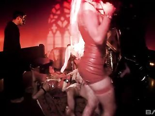 Devilish orgy with blondes in latex dresses