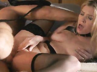 Rough fucks blonde in black stockings