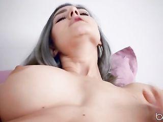 Eva Elfie caresses pussy with thin fingers