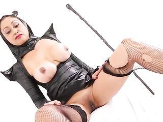 Busty girl in Melificent costume masturbates