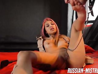 Russian mistress shakes ash in her slave mouth