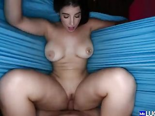Girl with a fluffy ponytail rides the dick