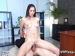The man pissing with a leggy brunette