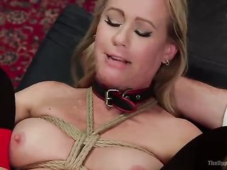 Tightly tied woman gets stuffed in her ass and fucked