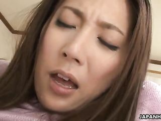 Japanese student explores his girlfriend's private parts