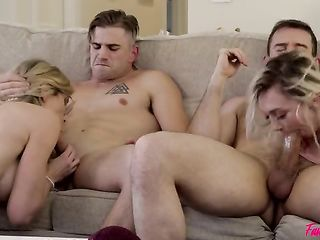 Mom and daughter invited two guys and had sex