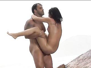 Hot sex of a couple on a desert island