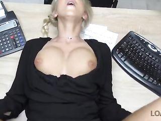 Boss fucks titty secretary on desk