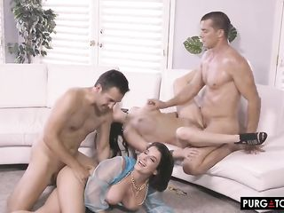 Hot porn sex orgy with two busty ladies