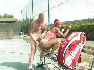 Peeing on a tennis player's tits after sex