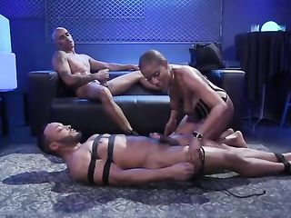 Tied up man watches dude fuck a bald chick