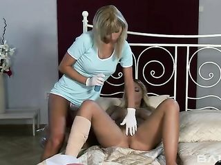A nurse fondles a patient's private parts