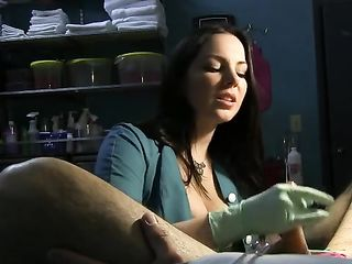 Nurse Stretches Slave's Urethra with Rosebud Sounds and Green Latex Gloves