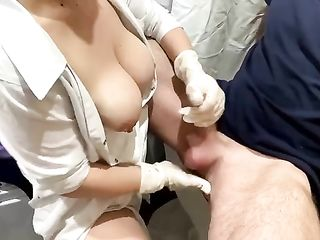Russian nurse massages prostate and squirts