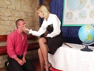 Mistress teacher punishes her student