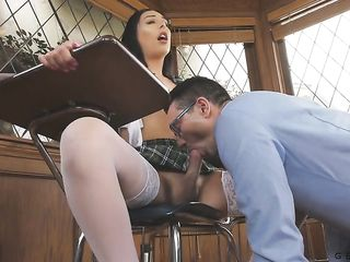 Sexy student Chanel Santini showed her professor her dick