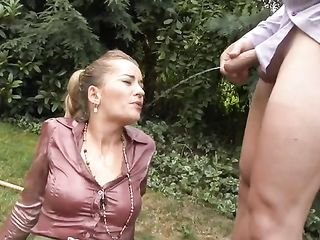 Fucked a lady on the lawn and pees on her silk blouse