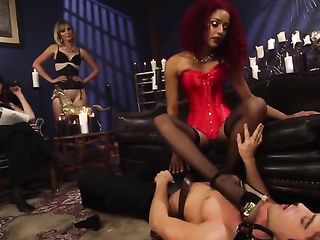 Alphonse caresses and kisses the legs of gorgeous ladies