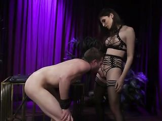 Transgender Mistress fucks her slave hard