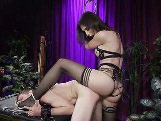Transgender Mistress fucks her slave hard