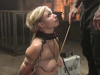 Fucks the tightly bound Gabi Gold in the mouth