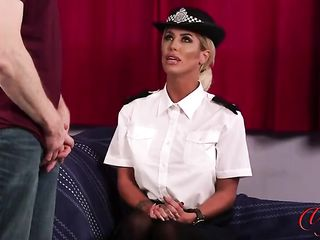 Mistress in a police uniform makes a man cum in her palm