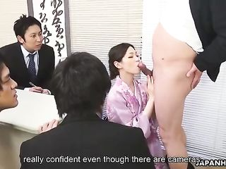 Geisha Misaki Yoshimura in the office