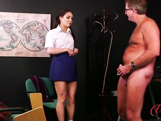 A student undresses in front of a professor and he jerks off while looking at her