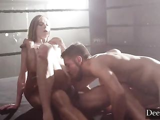 Haley Reed has sex with two boxers in the ring