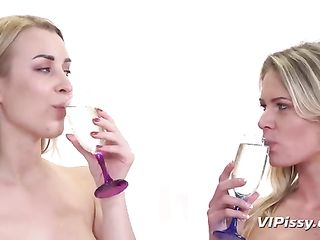 Two blondes pee in glasses and drink