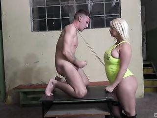 Huge blonde bangs and spanks skinny guy