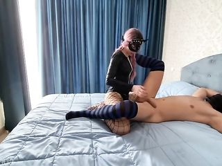 Girl with pink pigtails fucks guy in the ass